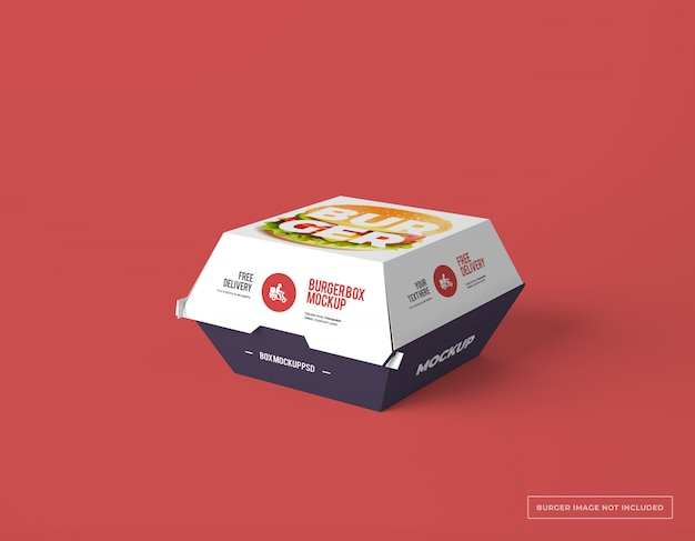 Emballage de boîte de hamburger avec maquette de conception modifiable