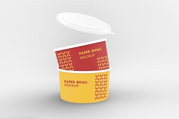Emballage de bol en papier pour la marque et la maquette d'identité