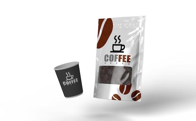 Emballage de café et maquette de rendu 3d de graines