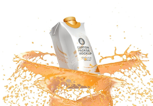 Emballage en carton avec maquette splash
