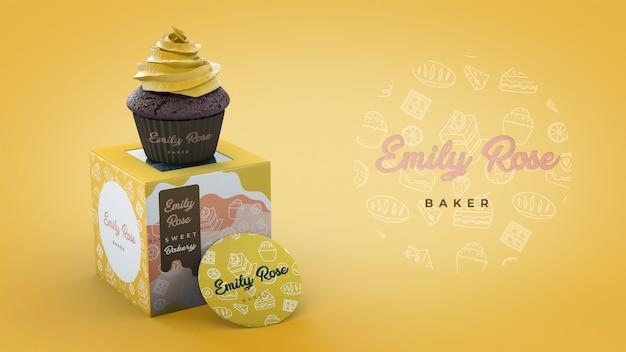 Emballage de cupcake et maquette de marque