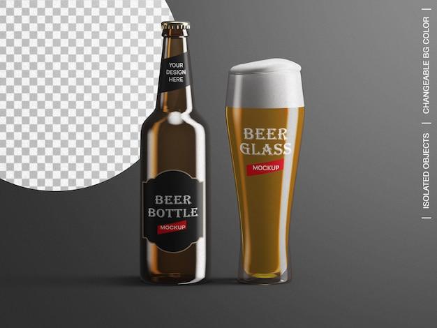 Emballage d'étiquette de bouteille de bière et créateur de scène de maquette en verre isolé