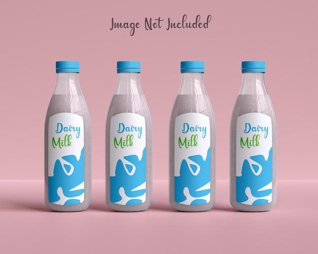 Emballage de lait maquette de bouteille vitreuse avec du lait