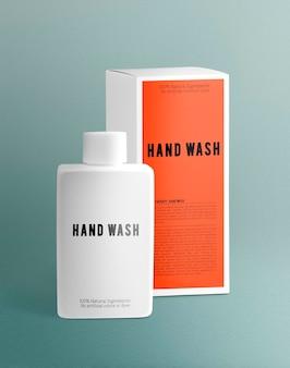 Emballage de produit psd de maquette de bouteille de lavage à la main dans un design minimal