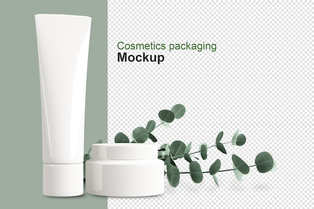 Emballage de produits cosmétiques avec feuille en rendu 3d