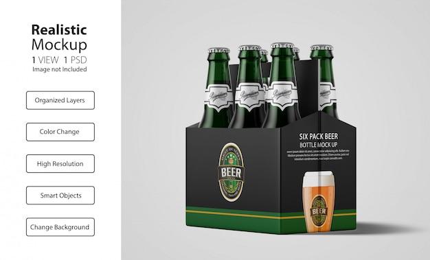 Emballage réaliste de la maquette de la bière six pack