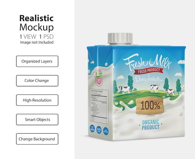 Emballage réaliste de la maquette de la boîte en carton de lait