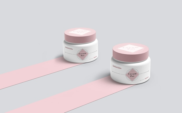 Emballage rose de produits cosmétiques