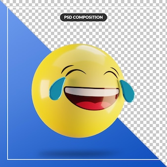 Emoji 3d avec des larmes de joie isolées pour la composition des médias sociaux