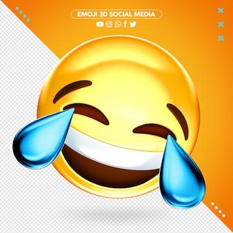 Emoji 3d souriant avec maquette de larmes