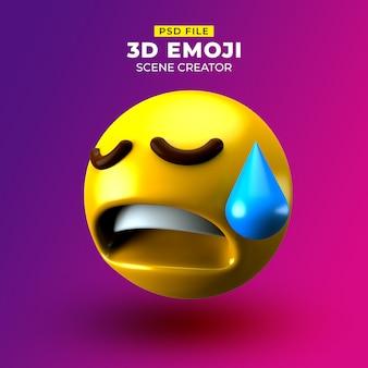 Emoji 3d triste avec un visage déçu mais soulagé