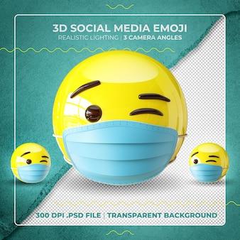 Emoji clignotant masqué en 3d