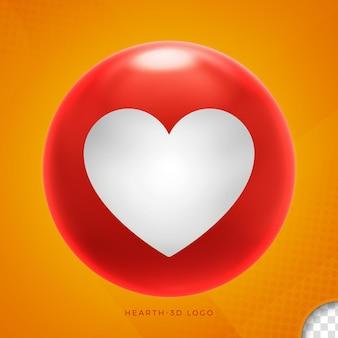 Emoji coeur dans la conception 3d ellipse