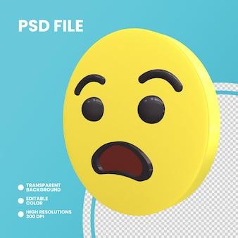 Emoji coin rendu 3d isolé visage angoissé