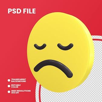 Emoji coin rendu 3d isolé visage déçu