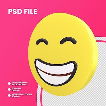 Emoji coin rendu 3d isolé visage rayonnant avec des yeux souriants