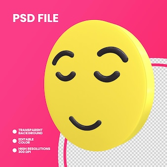 Emoji coin rendu 3d isolé visage soulagé