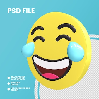 Emoji coin rendu 3d visage isolé avec des larmes de joie