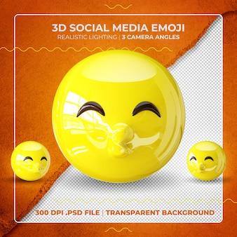 Emoji embrassant 3d isolé avec les yeux fermés