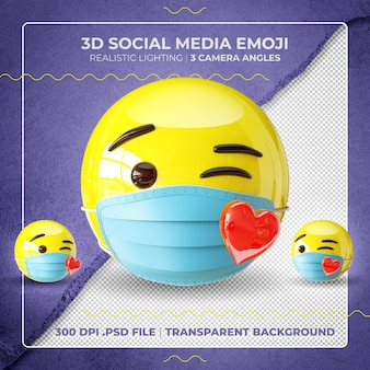 Emoji embrassant masqué en 3d
