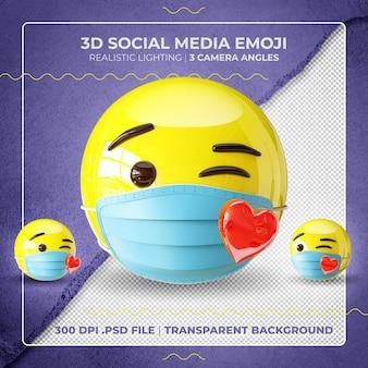 Emoji Embrassant Masqué En 3d PSD Premium