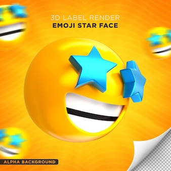 Emoji face star rendu 3d