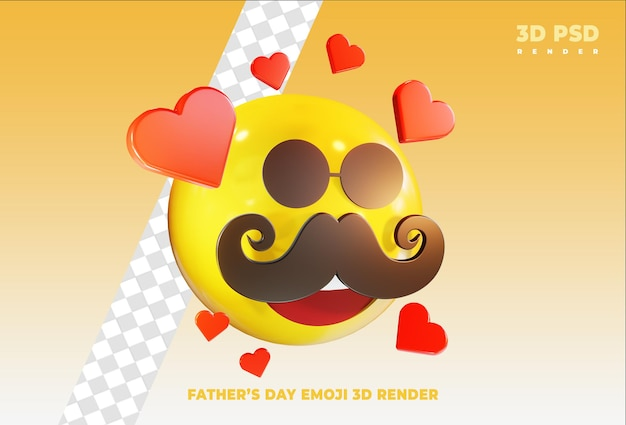 Emoji fête des pères avec amour insigne icône de rendu 3d isolé