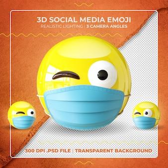 Emoji masqué en 3d faisant un clin d'œil