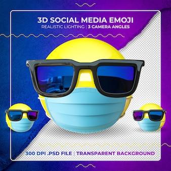 Emoji masqué 3d avec des lunettes de soleil