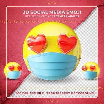 Emoji masqué 3d avec des yeux de coeur