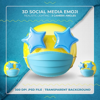 Emoji masqué en 3d avec des yeux étoilés