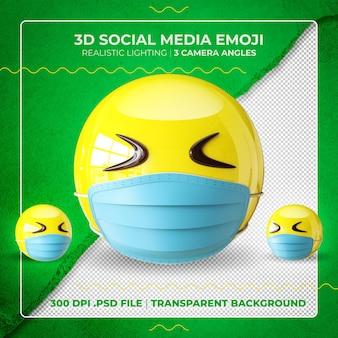 Emoji masqué en 3d avec les yeux fermés