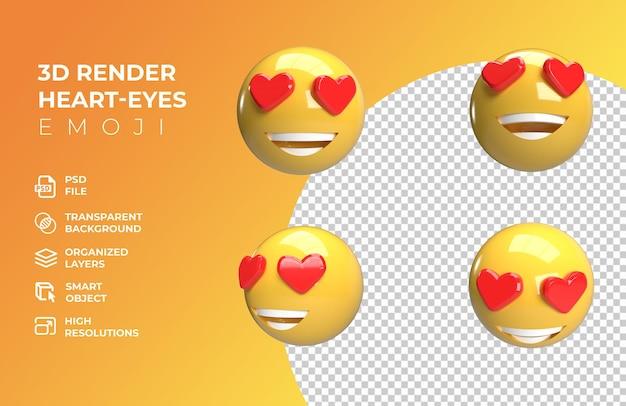 Emoji oeil coeur rendu 3d
