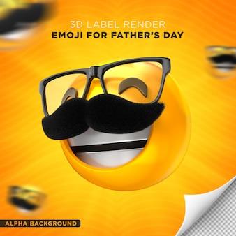 Emoji papa étiquette fête des pères conception de rendu 3d