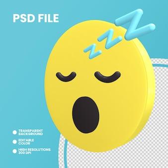 Emoji pièce de monnaie de rendu 3d isolé visage endormi