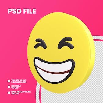 Emoji pièce de monnaie de rendu 3d isolé visage grimaçant souriant
