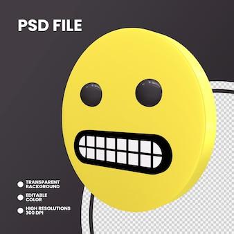 Emoji pièce de monnaie de rendu 3d isolé visage grimaçant