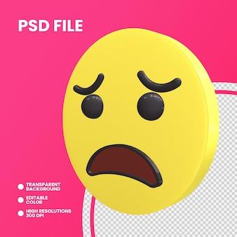 Emoji pièce de monnaie de rendu 3d isolé visage inquiet