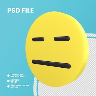 Emoji pièce de monnaie de rendu 3d isolé visage sans expression