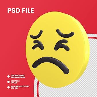 Emoji pièce de monnaie de rendu 3d visage persévérant isolé