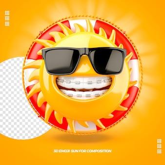 Emoji de soleil avec des lunettes de flotteur et appareil dentaire isolé isolé