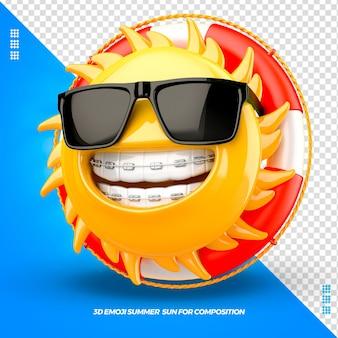 Emoji de soleil avec des lunettes de flotteur droit et appareil dentaire isolé isolé