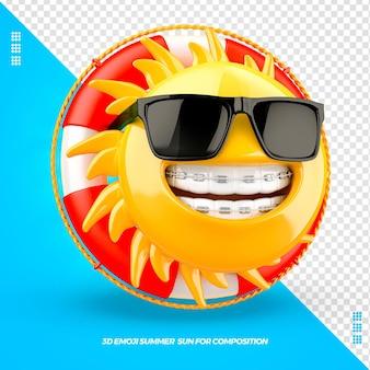 Emoji de soleil avec des lunettes de flotteur à gauche et appareil dentaire isolé isolé