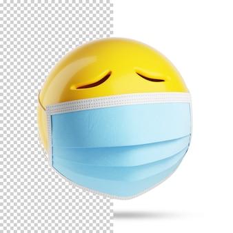 Emoji triste avec un masque médical, 3d