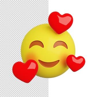 Emoji avec trois coeurs sur fond orange rendu 3d