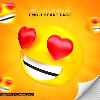 Emoji visage coeur rendu 3d