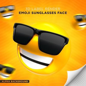 Emoji visage lunettes de soleil rendu 3d