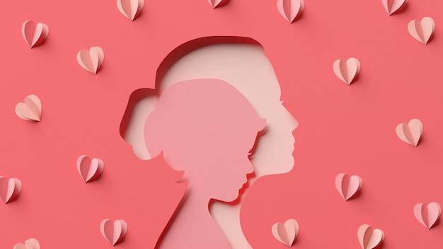 Enfant à l'intérieur de la silhouette de maman et quelques coeurs dans un style papercut en rendu 3d