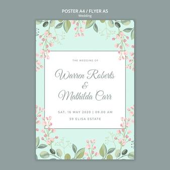 Enregistrer le modèle d'affiche de mariage floral de date