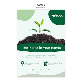 Enregistrer le modèle d'affiche de la planète avec des plantes et du sol
